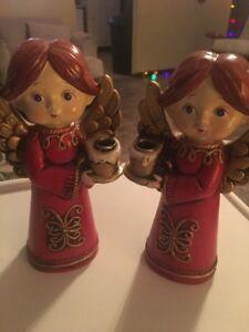 "Pair 7"" Vintage Ceramic Angels Taper Candle Holder Figurines Red & Gold Japan"
