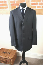 Mens CROMBIE Prince of Wales Charcoal Pinstriped Pure Wool Suit Size 40L W34 L32