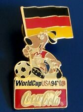 SOCCER WORLD CUP USA 94 COCA COLA GERMANY FLAG PINBACK RED BLACK YELLOW ENAMEL