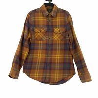 Eddie Bauer Mens size Small Orange Plaid Button Up Long Sleeve Flannel Shirt