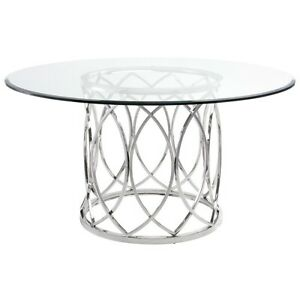 "59"" W Dining Table Round Tempered Glass Top Interwoven Stainless Steel Base"