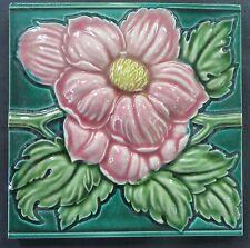 """1-Antique Ceramic tiles 6""""x 6"""" Victorian  Art Nouveau Architecture Embossed"""