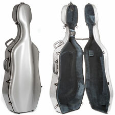 Eastman CL18 Classic Silver 4/4 Cello Case - Wheels - Grey Interior - AUTHORIZED