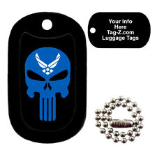 AIR FORCE EVIL SKULL - CUSTOMIZED - LUGGAGE TAG - Tag-Z Military Dog Tags