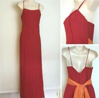 Vintage 90's Red Orange Train Strappy Bridesmaid Prom Party Dress Size 10
