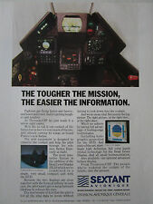 11/1989 PUB SEXTANT AVIONIQUE HEAD LEVEL DISPLAY LCD HUD COCKPIT ORIGINAL AD