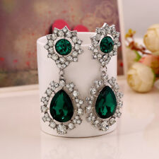 EXTRA LARGE TURQUOISE, GREEN OR HOT PINK TEAR DROP DIAMANTE CRYSTAL EARRINGS