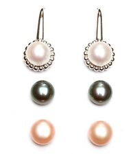 HONORA COLLECTION FRESHWATER PEARL INTERCHANGEABLE EARRINGS SET ~ NIB sterling