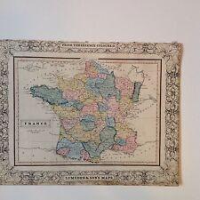 France Antique Map 1840 Threepence Edinburgh School Atlas Rare