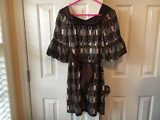 Nanette Lepore Brown Color Block Silky Dress Size 0