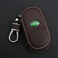 Coffee Cowhide leather Car Key Holder Keychain Ring Case Bag Fit For Land Rover
