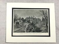 1875 Print Bradgate House Hall Groby Leicester Leicestershire Antique Original