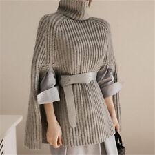 Suéter de cuello alto Tejer cabo suelto mangas murciélago Manto una línea Chic Nuevo Hd214