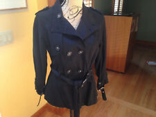 NEW SUSAN BRISTOL Black 100% Cotton Long Sleeve Womens Belted Jacket Size M