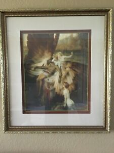 Framed Herbert Draper Lament For Icarus Repro Oil Painting 28.5x31.5in