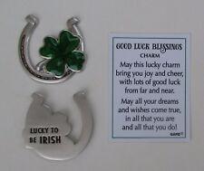 aa Lucky to be Irish GOOD LUCK BLESSINGS Pocket token charm shamrock horseshoe