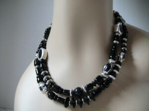 """Navajo Christin Wolf Sterling Silver Onyx Inlay Beads, Discs Necklace 18"""""""