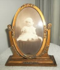 Antique Barbola Gessoed Oval Swing Frame roses ! with baby picture Rare!