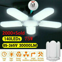 E27 LED Garage Light Bulb Deformable Ceiling Fixture Lights Shop Workshop Lamps