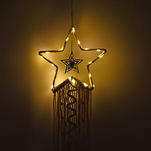 Shop LC Home Garden Decor Beige Hanging Star Shaped Dream Catcher with LED Light