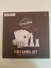 Deluxe 7-in-1 Game Set Chess, Backgammon Cribbage Dominoes Playing Cards Wood