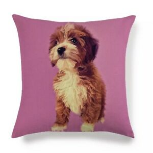 COCKAPOO CAVAPOO CUSHION COVER PILLOW CUTE DESIGN PINK BACKGROUND FOR THE HOME