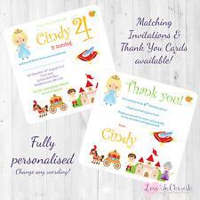 Cinderella Personalised INVITES THANK YOU Birthday Party Fairytale Princess