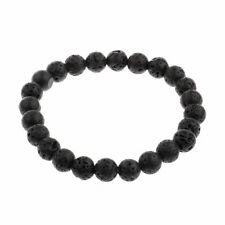 Fashion Rock Lava Stone Silver Buddha Beaded Round Charm Bracelet For Women Men