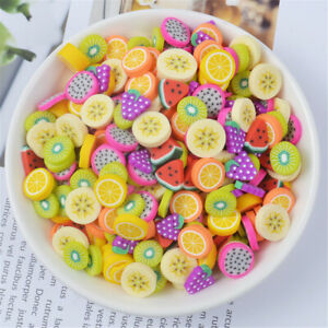 10-13mm Polymer Clay Cabochons Fruit Slices Craft Decor DIY Multipurpose 40 pcs