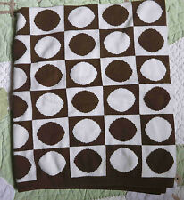 Dwell Studio Brown White Squares Circles Dots Knit Baby Boy Girl Blanket Target