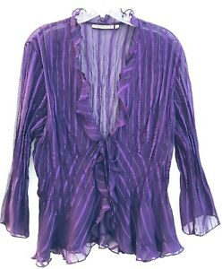 Notations Ruffle Blouse Purple Victorian Sheer See Through Ribbed Top Size XL
