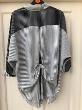 River Island Black/striped Loose Fitting Shirt With Back Detail Size 8 New