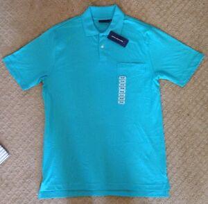 Men's John Ashford Turquoise Blue Knit Polo Shirt-Size Small