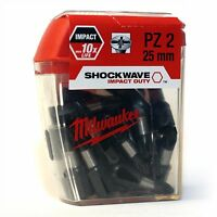 MILWAUKEE SHOCKWAVE IMPACT DRIVER SCREW DRIVER BITS PZ2 (25 BITS IN TIC TAC BOX)