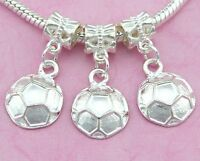 30pcs Silver Tone Plated Soccer ball Dangle Charms For Bracelet SY42