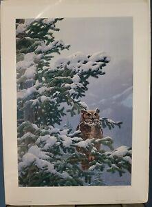John Seerey Lester Signed Limited Edition Print Winter Vigil Great Horned Owl