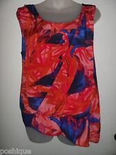 Leifsdottir 8 100% Silk Top Blouse Floral Bright Boho Blue Red Beach Tunic EUC