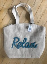 ENVY LARGE Relax BEACH BAG TOTE CARRY BURLAP SNAP 19 X 16 Handcraft NWT MSRP-$89