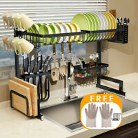 Over Sink Dish Drying Rack Stainless Steel Kitchen Cutlery Shelf Holder 65/85CM