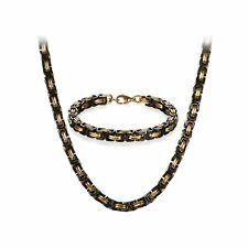 "8mm Stainless Steel Punk Biker Byzantine Chain Mens Bracelet Necklace Set 22-26"""