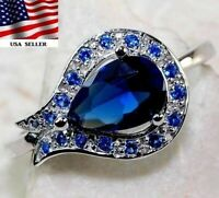 2CT Blue Sapphire 925 Solid Genuine Sterling Silver Ring jewelry Sz 6, Z-3