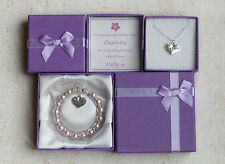 Big sister gift from new baby. Personalised bracelet or necklace present in box.