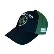 Baseball Cap With Half Green, Half Black With Embossed Ireland And Shamrock Cres