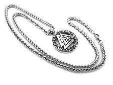 Edelstahl Keltisch Runnen  Anhänger + Zopfkette Amulett Wikinger Set (K-A 003)
