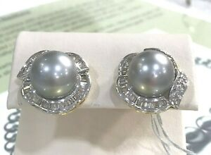 12.5 mm Tahitian South Sea Pearl Diamond 14k Gold Earrings