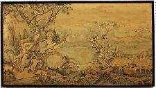 Antique French Tapestry Landscape Children Guitar Sheep Boat on Lake Circa 1890