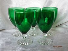 """5 FOREST GREEN Anchor Hocking 4 1/2"""" BOOPIE BUBBLE INSPIRATION GLASSES"""