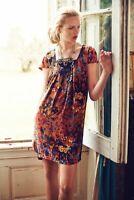 Anthropologie Maeve Women's Pintura Floral Print Silk Shift Dress Size Small