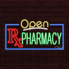 """Brand New """"Open Rx Pharmacy"""" w/Border 37x20X1 Inch Led Flex Indoor Sign 35554"""