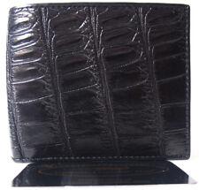 Genuine Real Belly Crocodile Alligator Skin Leather Man Bifold Black Wallet